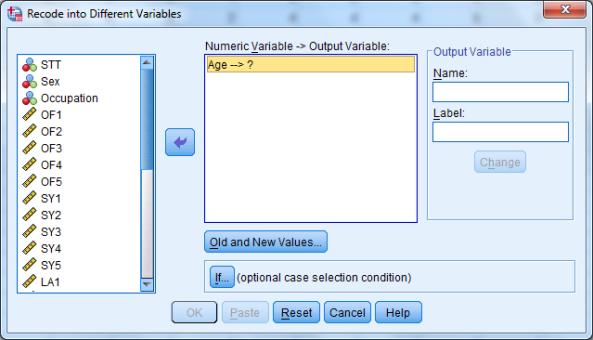 Hướng dẫn cách mã hoá lại biến Recoding Varibles trong SPSS
